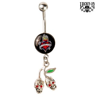 LUCKY 13 Bauchnabel Piercing Cherry & Burning Heart