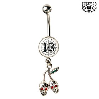 LUCKY 13 Bauchnabel Piercing Cherry & Spider Web