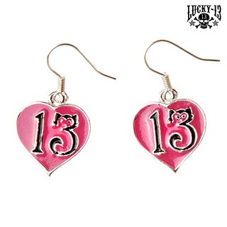 LUCKY 13 Kitty Heart Earrings pink
