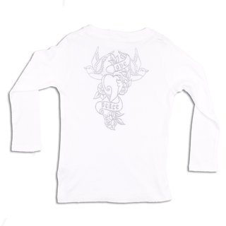 ROCK STAR BABY Kinder Langarm Shirt Bird Tattoo weiß