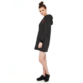 PUSSY DELUXE Cherries Dots Hooded Sweatdress black