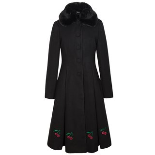 PUSSY DELUXE Cherries Long Coat black
