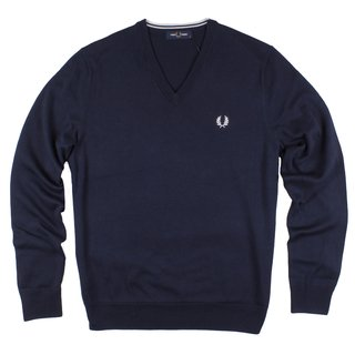 FRED PERRY Classic Cotton V Neck Jumper deep carbon