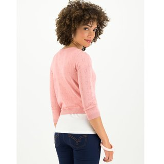 BLUTSGESCHWISTER Logo Roundneck Cardigan Short rose heart anchor