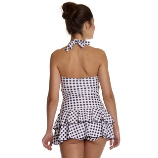 PUSSY DELUXE Collar Plaid Swimsuit black/white