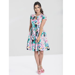 HELL BUNNY Toucan Mid Dress pink