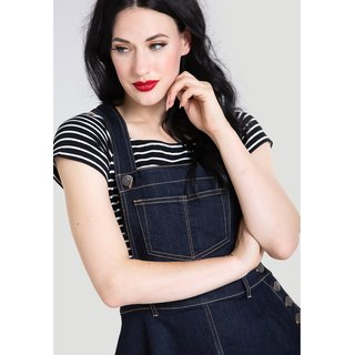 HELL BUNNY Dakota Pinafore Dress navy