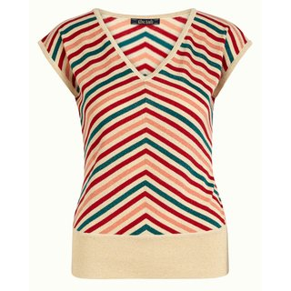 KING LOUIE Deep V Top Cabana Stripe cream