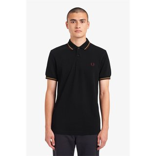 FRED PERRY Twin Tipped Polo Shirt blk/1964gld/aubg
