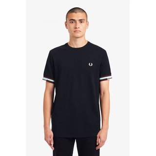 FRED PERRY Abstract Cuff T-Shirt navy
