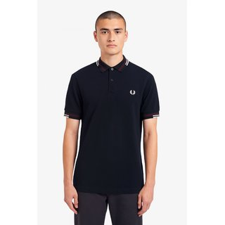 FRED PERRY Abstract Tipped Polo Shirt navy
