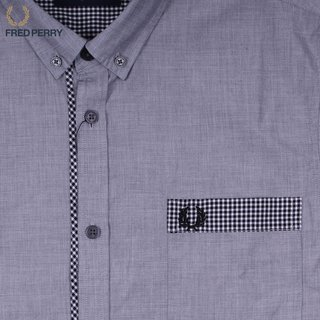 Fred Perry Gingham Trim End On End Shirt slate