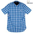 FRED PERRY Tartan Gingham Mix Shirt prince blue