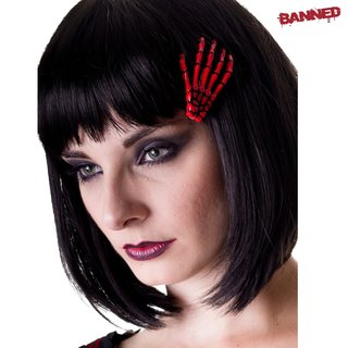 BANNED Skeleton Hand Hair Clip red